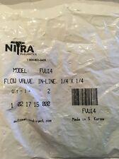 """Lot Of 5 New Nitra Pneumatics FVU14 In-Line Flow Valves 1/4"""""""