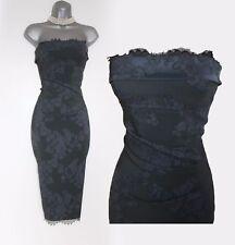KAREN MILLEN Grey Strapless Jacquard Lace Corset Wiggle Cocktail Dress UK12  40