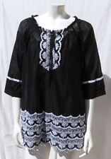 INC Black & White 100% Cotton Long Embroidered Peasant Blouse Shirt Tunic sz S 6