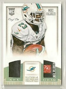 Mike Gillislee 2013 National Treasures NFL Gear Dual Laundry Tag Patch RC #d 1/1