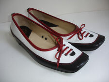 ESPACE WOMENS SHOES Size 6.5 HEELS PUMPS LEATHER BLACK RED WHITE STYLED FRANCE