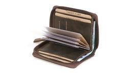 Kreditkartenmappe mit Scheinfach LEAS im Vintage-Stil in Echt-Leder, braun