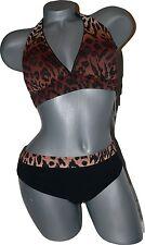 NWT GOTTEX leopard cheetah bikini swimsuit halter 10 M 2PC browns black animal