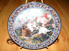 """Fuzzy Fun"" Floral Frolics Siamese Cat Glenna Kurz Bradford Exchange Plate"