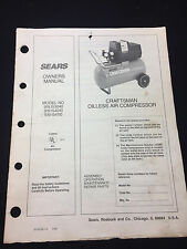 CRAFTSMAN OILESS AIR COMPRESSOR OWNERS MANUAL 919.153040, 919.154010, 919.154110