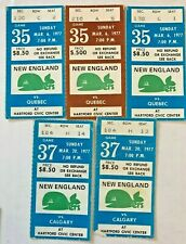 5 HOCKEY TICKET STUB NEW ENGLAND WHALERS 1977 Hartford Whalers