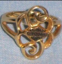HARLEY DAVIDSON Shield Logo 10K Gold Women's Ladies' Scroll RING Band Size 9