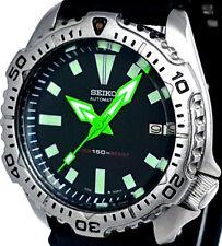 "Vintage mens watch SEIKO diver 7002 mod w/Neon Green SPEAR & ""Box"" SS hand set !"