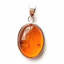 "AMBER PENDANT Rounded Oval Amber Stone Charm .925 STERLING SILVER (Size: 5/8"")"