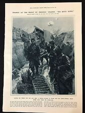 WW1 1915 Newspaper Illustration FRENCH SOLDIER LEAVES TRENCH FOR THE LAST TIME