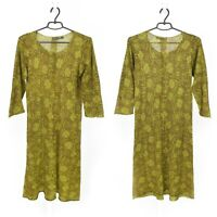 Womens Gudrun Sjoden Tunic Dress Green 3/4 Sleeve Cotton Floral Print Size M