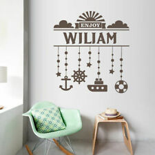 Marine Custom Baby Name Wall Decal Personalized Ocean Ship Boat Helm M1375