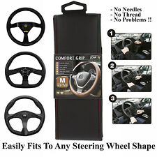 Black Red Steering Wheel Cover Fit Standard and D-Shape Race Performance