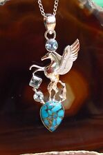 Pendant Pegasus Winged Horse Sterling Silver 925 Copper Turquoise Blue Topaz