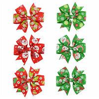 6Pcs Girl Christmas Holiday Gift Snowflake Ribbon Hair Bows Clip Girl Hairpin I2