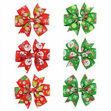 6Pcs Girl Christmas Holiday Gift Snowflake Ribbon Hair Bows Clip Girl Hairpin PL