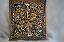 Russia Orthodox bronze with enamel Icon.The Resurrection.The Descent into hell .