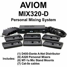 AVIOM MIX320-D Complete (6) Person Dante Audio Mixing System Cables, Stand Mount