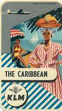 KLM ROYAL DUTCH AIRLINES TO THE CARIBBEAN VINTAGE AIRLINE LUGGAGE LABEL