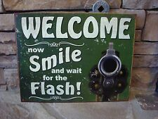 Welcome Sign Smile Flash Wall Pistol Sign Home Decor Gun Antique Retro NEW