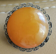 Vintage Russian Latvian Silver 875 Round Amber Ethnic Pin Brooch 8,6 G. Filigree