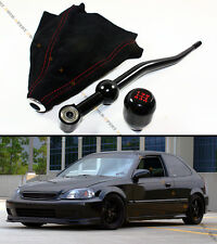 88-00 HONDA CIVIC BLK DUAL BEND SHORT SHIFTER+ BLK TYPE-R SHIFT KNOB+ SUEDE BOOT