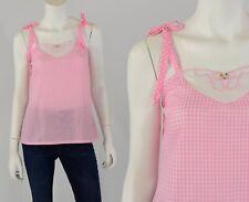 70s Vintage Gingham Plaid Baby Doll Shirt Peasant Tie Shoulder Xs Avon Fashions