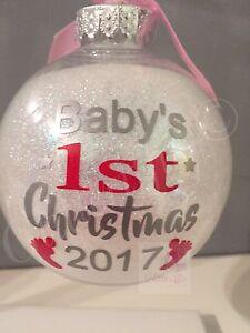 x2 Baby's 1st Christmas 2021 Vinyl Decal Sticker DIY Christmas Bauble Decoration