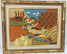 Framed Needlepoint Crewel Farm Fall Landscape N1