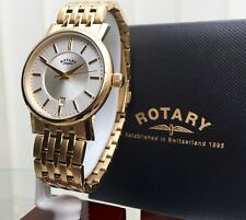 Mens Rotary watch Gold plated Slim Champagne dial RRP £230 Used Boxed