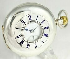 Antique Swiss Made Wolf Tooth Sterling Silver Half Hunter Pocket Watch c.1910