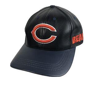 Vtg Logo Athletic Chicago Bears Leather Hat NFL Cap USA Embroidered Black Blue