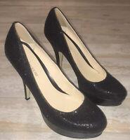 ENZO ANGIOLINI High Heels PUMPS BLACK Sequins Sparkle Sz 8 Shimmer Bling EUC