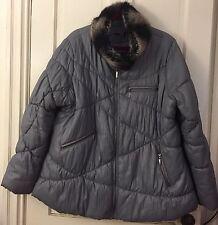 Medium Weight Fall Winter Coat Parka Jacket Faux Fur Collar Lining Womens XL XXL