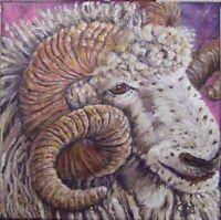 Original Small Painting- 'Freckles' - Ram- Acrylic