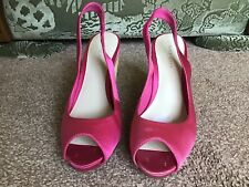 Ladies Pink Satin Wedge Shoes By Nine West Size 4