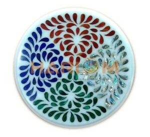 "12"" White Marble Round Coffee Table Top Precious Multi Stone Inlaid Decors W582"