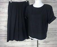 Brownstone Studio New York 2-Piece Crinkle Black Split Skirt  / Top Set Size L