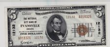 $5 1929 National City Bank of Evansville, IN - Banknote - AU - Charter 12132!!!