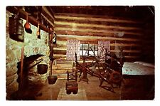 Joshua Miller Cabin Interior Postcard New Salem State Park Blacksmith Wheel Vtg