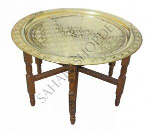 """Orientalischer Teetisch """"Tefor"""" Holz Ø 80 cm Gold"""