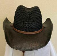 SCALA SALE * MENS BLACK COWBOY HAT M L * NEW SHAPEABLE RAFFIA & TOYO STRAW SHADY
