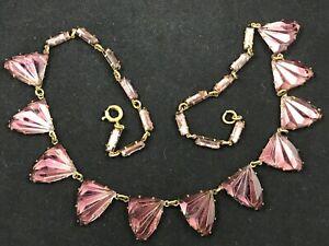 Antique Art Deco geometric purple Czech 'Vauxhall' style glass necklace