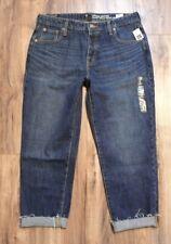 Gap Women's Vintage High Rise Button Fly Cropped Jeans Raw Hem Sz 30/10 F'17