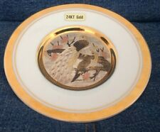 """24Kt Gold Edged Ornamental Plate 6"""" Across Peacock Design Unboxed Preowned 850Z5"""