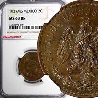 Mexico ESTADOS UNIDOS MEXICANOS Bronze 1927 Mo 2 Centavos NGC MS63 BN KM# 419