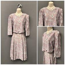 Retro Pale Pink Floral Dress UK 14 EUR 42 US 10