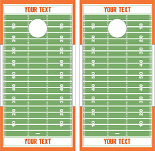 Football Field Customizable Cornhole Board Skin Wrap Decal SET -LAMINATED