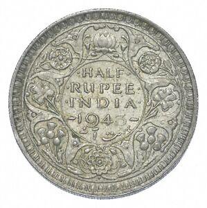 Better - 1943 British India 1/2 Rupee - TC *910
