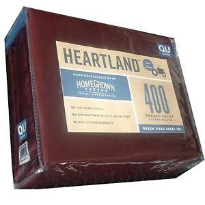 Burgundy QUEEN Sheet Set Heartland 400 TC 100% HomeGrown Cotton Sateen NEW